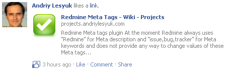 This page on Facebook with Meta plugin