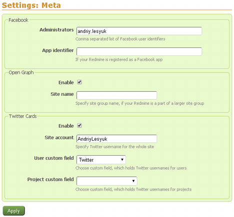 Settings of the plugin