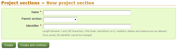 New project section form