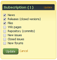Subscription form on the sidebar